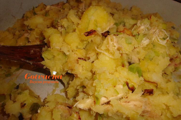 Картофи с праз и пиле