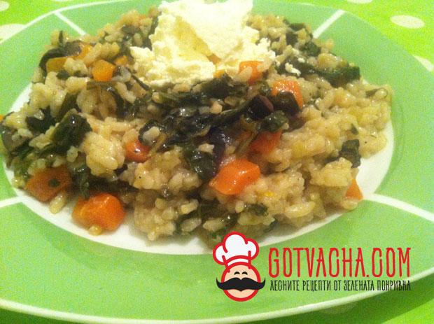 Ориз с моркови и спанак